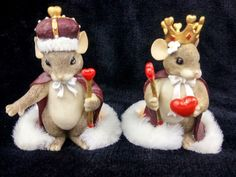Fitz and Floyd Charming Tails King & Queen Of My Heart 2 Pcs Mice Mouse 3