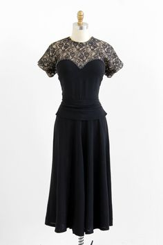 vintage 1940s dress / black dress / 40s Black and by RococoVintage