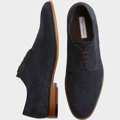Joseph Abboud Hayes Navy Suede Oxford Shoes - Casual Shoes | Men's Wearhouse