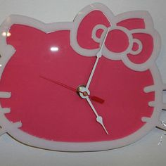 HELLO KITTY White on Pnk Wall Clock Hello Kitty Merchandise, Cute Clock, Leggings Are Not Pants, House Design, Apple, Candles, Handmade Gifts, Clocks, Wall
