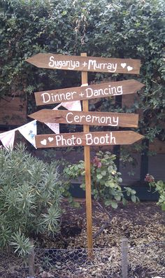 Wooden Wedding Directions Sign