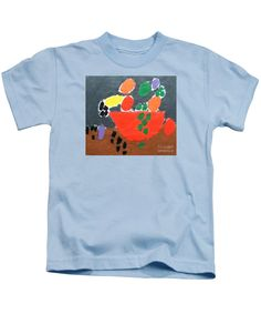 Patrick Francis Designer Kids Light Blue T-Shirt featuring the painting Bowl Of Fruit by Patrick Francis