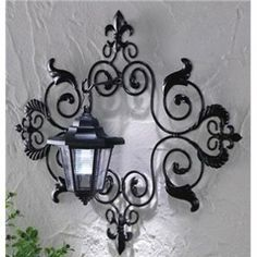 Scrolled Metal Hanging With Solar Wall Lantern Outdoor Yard Decor