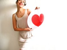 i heart you paper lamp with heart in diamond shape by Vebo on Etsy