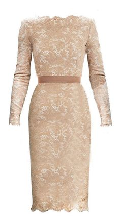 Champagne Long Sleeve Floral Lace Scalloped Hem Dress >> So pretty and classy!