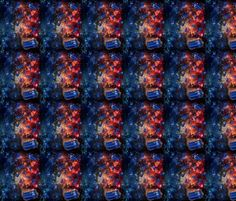 Police Boxes in Space Extra Small fabric by costumewrangler on Spoonflower - custom fabric