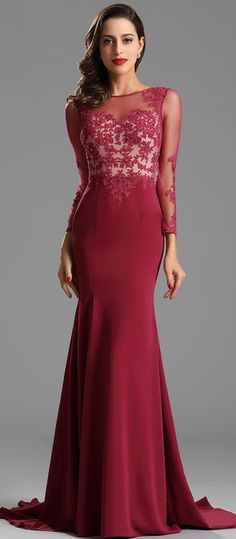 Elegant Long Lace Sleeves Formal Dress