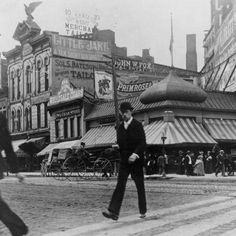 Sanders Confectionary - circa 1891-1900 of the intersection of Woodward Avenue and State Street in Detroit, Michigan. The corner store, with the interesting cupola, is Sanders Confectionary, opened in 1875 at this location (although expanded in 1891).