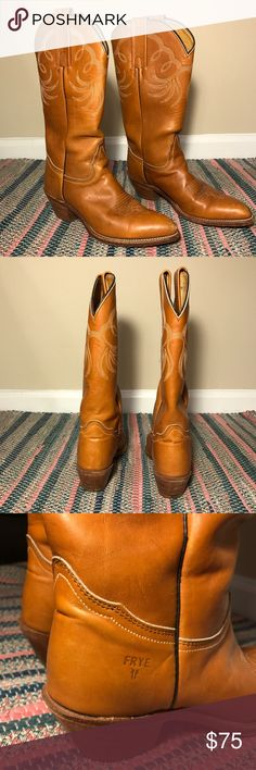 FRYE Cowboy Boots Beautiful Frye cowboy boots! Never worn enough, love these!! Frye Shoes Heeled Boots