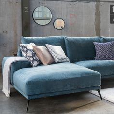 Trendhopper ● Nude pastel colors and strong black steel complement each other … Blue Couch Living Room, Living Room Sofa Design, Home Living Room, Living Room Decor, Furniture Showroom, Home Furniture, Furniture Design, Sofa Inspiration, Living Room Inspiration