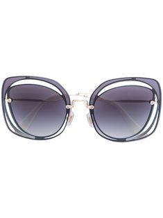 MIU MIU EYEWEAR . #miumiueyewear # Miu Miu, Eyewear, Round Sunglasses, Classic, Blue, Shopping, Style, Angel, Eye Glasses