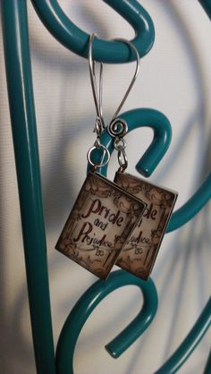 Pride and Prejudice Book Earrings by AbielleRose on Etsy, $15.00