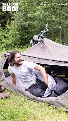 Camping Hacks Discover Motorcycle Camping Tent for bikers! This motorcycle camping tent system is perfect outdoor gear for bikers to completely achieve their adventurous dream. It called the Goose motorbike tent Camping Ideas, Best Camping Gear, Camping Hacks, Go Camping, Outdoor Camping, Outdoor Gear, Camping Supplies, Camping Checklist, Camping Gadgets