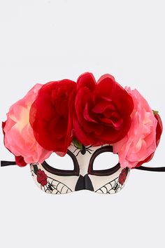 Day of the Dead Mask, Halloween Mask, Sugar Skull, Skull Mask, Flower, costume mask, Flower crown, by Scarlettaa on Etsy