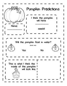 pumpkin predictions worksheet - Fall Worksheets For First Grade