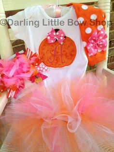 Baby Girl Pumpkin Tutu Outfit  in orange and hot pink for Fall birthdays, perfect for a pumpkin themed first birthday