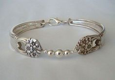 Spoon Bracelet Recycled Silverware Jewelry Sterling Beads Eternally Yours Made to Order. $29.00, via Etsy.