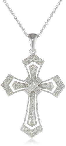 "Sterling Silver Milgrain Cross Diamond Pendant Necklace (1/5 cttw, I-J Color, I3 Clarity), 18"" $95.00"