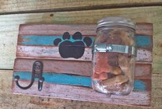 Adorable doggie leash and treat holder. Customized in a shabby chic finish. MomWithASaw @ https://www.etsy.com/listing/196979494/adorable-doggie-treat-and-leash-holder