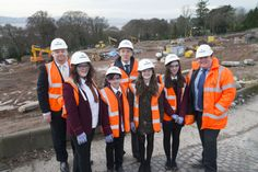The new Harris Academy begins to rise from the foundations of the old, as concrete is laid to mark the start of building work on this £31m project. The occasion was witnessed by pupils who are shaping the future of the famous Dundee educational institution. From left: education convener Stewart Hunter, Kelsey Duffy, 14, Keir Rodger, 13, head teacher Jim Thewliss, Grace Lynch, 13, Zoe Scott, 14, and Keith Taylor of Robertson Construction.