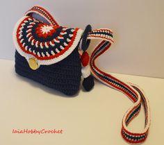 Borsa sacchetto poco ragazza Crochet uncinetto borsa blu