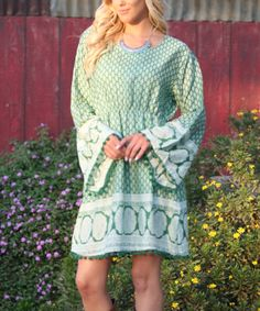 Look what I found on #zulily! Ananda's Collection Green Geometric Bell Sleeve Scoop Neck Dress by Ananda's Collection #zulilyfinds
