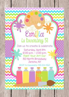 PRINTABLE Art Birthday Party Invitation / Painting, Pottery, Arts and Crafts Party / Rainbow Chevron / You Print