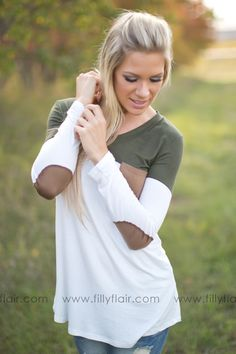 Fall Favorite Long Sleeve Top with Elbow Patches!