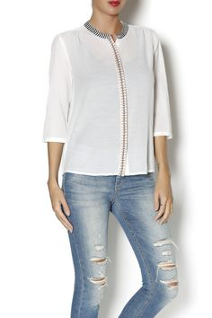 Sheer button front 3/4 sleeve blouse with embroidery on the collar and button line.   Amsterdam Blouse by Scotch % Soda. Clothing - Tops - Long Sleeve Clothing - Tops - Blouses & Shirts Marina, San Francisco