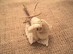 Burlap Boutonniere Rustic Wedding Groomsmen by theruffleddaisy, $12.00