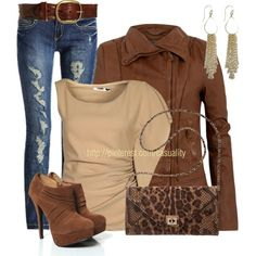 """""""Ripped Jeans, Leather Jacket, Mk Tote"""" by casuality on Polyvore"""