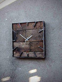 Clock Wand / Vividoff - Steve Prosdocimo - For the home - Wood Steel, Wood And Metal, Metal Art, Diy Wall Art, Wood Wall Art, Wall Painting Flowers, Handmade Clocks, Diy Clock, Wood Clocks