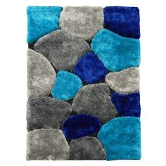 Hand-tufted Flash Shaggy-658 Abstract Color Block Blue Shag Rug (5' x 7') | Overstock.com