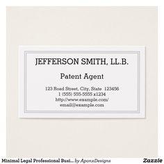Shop Minimal Legal Professional Business Card created by AponxDesigns. Minimal Business Card, Professional Business Cards, Business Card Design, Patent Agent, Letter Board, Minimalism, Card Designs, Lawyer, Jun