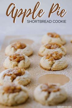 These Apple Pie Thumbprint Cookies are an amazing copycat recipe of the ones you get at Panera. It's an almond-scented shortbread thumbprint cookie filled with a delicious spiced apple pie filling. #applepiethumbprintcookies #applepiethumbprintrecipe #applepiealmondthumbprintcookies #homemade#applepiethumbprintcookies #applepie #shortbread #shortbreadcookie Apple Pie Recipes, Easy Cookie Recipes, Easy Desserts, Delicious Desserts, Dessert Recipes, Baking Recipes, Yummy Recipes, Vegan Recipes, Apple Pie Cookies