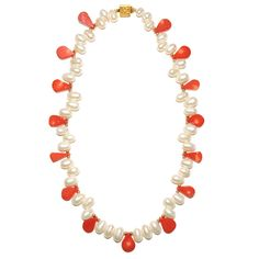 Pear Shaped Coral and Biwa Pearl Necklace, Women's