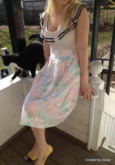 Vintage High Waist Floral Skirt by CrookedByDesign on Etsy, $28.00