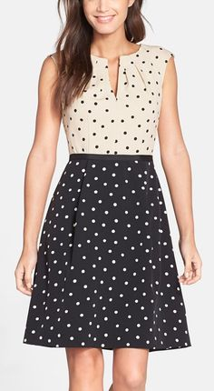 Adrianna Papell Dot Crepe Fit & Flare Dress available at Casual Dresses, Short Dresses, Fashion Dresses, Fit Flare Dress, Flare Skirt, Pretty Dresses, Beautiful Dresses, Work Dresses For Women, Nordstrom Dresses