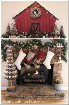 Wow! Love the sliced wood bauble tree, and I love everything else about this mantle, too!