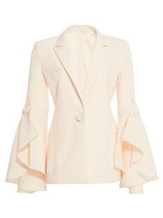 44c655d0e71 One Button Falbala Plalin Slim Fit Women s Blazer