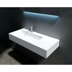 "This Juniper Stone 35"" Wall Mount Bathroom Sink is an elegant and modern sink with the unparalleled sophistication that will be an ideal addition to your current bathroom or bathroom remodel project."