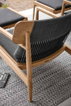 Close up details of Archi, weather proof woven rope around durable teak, so sit back and relax in this timeless classic lounge chair.