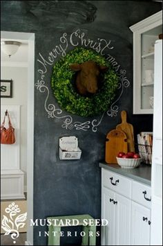 Miss Mustard Seed chalkboard wall...i need one for the grand babies :)