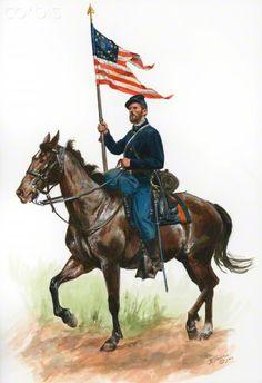 American Civil War, Union Cavalryman with Company Guidon 1864