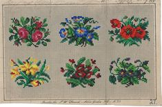 6 Lovely Berlin WoolWork Floral Patterns