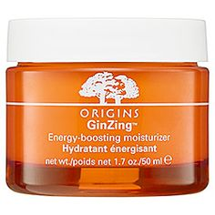 Sephora: Origins : GinZing™ Energy-Boosting Moisturizer : moisturizer-skincare --- this is a lightweight moisturizer but not so lightweight that you don't feel it on. It's great to apply just before putting on foundation because it helps it go on very smooth. It also very gradually lightens your complexion and gives you a glow. PLUS, it smells like oranges!