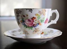 Royal Stuart Tea Cup and Saucer Floral and Gold Chintz