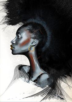Black Women Art, Black Art, Fierce Women, People Art, Sign Printing, Fine Art Paper, Annie, Illustrators, Giclee Print