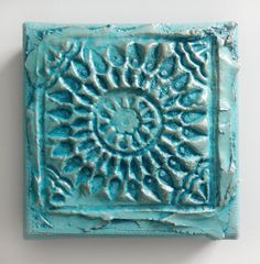 Micro Texture Plaque- Original Acrylic Painting on Canvas by Artist Suzie Nichols (turquoise blue teal silver imprint textured star flower) - pinned by pin4etsy.com