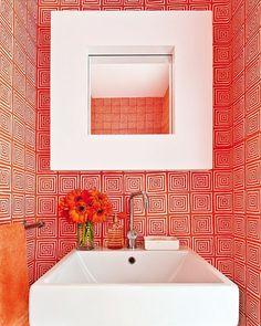 QUADRILLE (@quadrillefabrics) • Instagram photos and videos Cool Stuff, Red Wallpaper, Discount Fabric, Tiny Bathrooms, Wallpaper, Home Wallpaper, Pattern Wallpaper, Bathroom Wallpaper, Bathroom